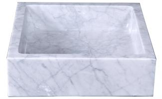 Bianco Carrara Marble Square Vessel Sink