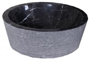 Nero Marquina Marble Round Vessel Sink