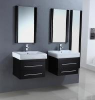 24 Inch Modern Single Sink Bathroom Vanities In A Set Of Two In Espresso  Finish