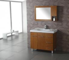 39 Inch Modern Single Sink Bathroom Vanity with Honey Oak Finish