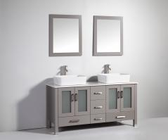 59 Inch Modern Double Sink Vanity in Light Gray