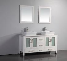 59 Inch Modern Double Sink Vanity in White