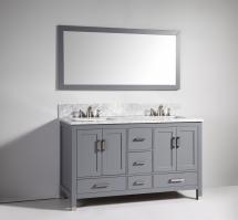 61 Inch Modern Double Sink Vanity in Dark Gray