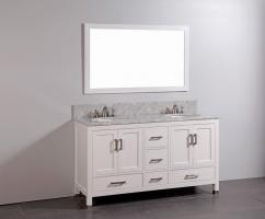 60 Inch Double Sink Bathroom Vanity with Soft Closing Drawers and Doors