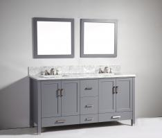72 Inch Modern Double Sink Vanity in Dark Gray