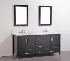 72 Inch Modern Double Sink Vanity in Espresso