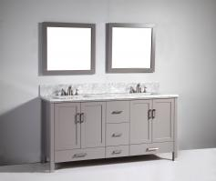 72 Inch Modern Double Sink Vanity in Light Gray
