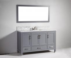 60 Inch Modern Single Sink Vanity in Dark Gray