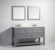 60 Inch Modern Double Sink Vanity in Dark Gray