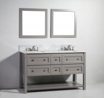 60 Inch Modern Double Sink Vanity in Light Gray