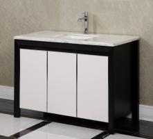47.2 Inch Single Sink Bathroom Vanity in Matte Black with Leather