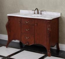 53.1 Inch Single Sink Bathroom Vanity with Carerra White Marble