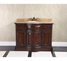 48 Inch Single Sink Bathroom Vanity with Brown Emperador Marble