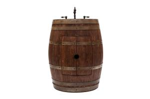 28 Inch Whiskey Finish Wine Barrel Vanity with Copper Sink