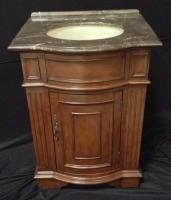26 Inch Single Sink Bathroom Vanity with Brown Parquet Marble