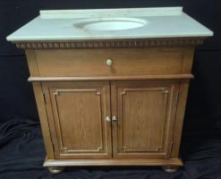 36 Inch Single Sink Bathroom Vanity with White Marble