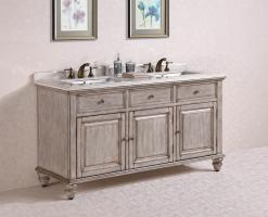 67 Inch Double Sink Bathroom Vanity in Antique White
