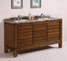 67 Inch Double Sink Bathroom Vanity in Light Walnut