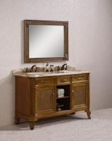 60 Inch Double Sink Bathroom Vanity with Travertine Top