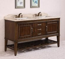 65 Inch Double Sink Bathroom Vanity in Walnut