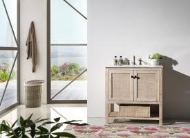 36 Inch Transitional Single Sink Vanity in Rustic White