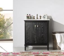 30 Inch Transitional Single Sink Vanity with a Black Wash