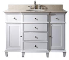 Beau 49 Inch Single Bathroom Vanity In White With A Choice Of Top