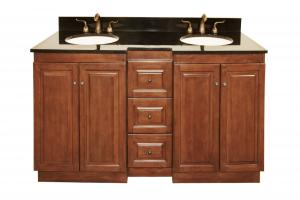 61 Inch Double Sink Bathroom Vanity with Choice of Finish and Countertop