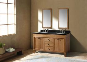 60 Inch Transitional Double Sink Vanity in Light Brown