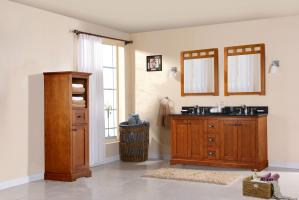 60 Inch Transitional Double Sink Vanity in Brown