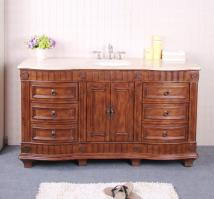 61 Inch Single Sink Bathroom Vanity with Choice of Countertop