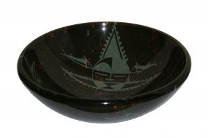 Black and Gray Round Vessel Sink