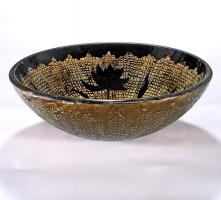 Gold with Black Flowers Round Vessel Sink