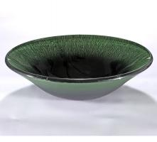 Black and Green Round Vessel Sink
