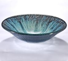 Blue and Silver Round Vessel Sink