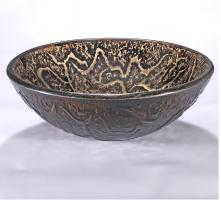 Black and Brown Round Vessel Sink