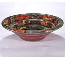 Red with Orange Round Vessel Sink