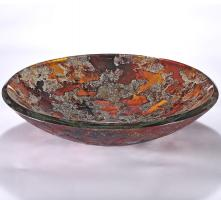 Orange and Silver Round Vessel Sink