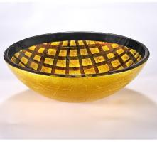 Black and Gold Round Vessel Sink