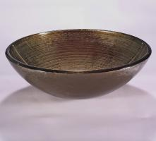 Brown and Silver Round Vessel Sink