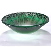 Green and Silver Round Vessel Sink