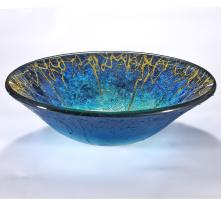 Blue and Gold Round Vessel Sink