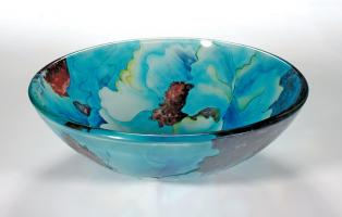Blue Leaf Round Vessel Sink