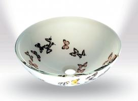 Butterfly Frosted Round Vessel Sink