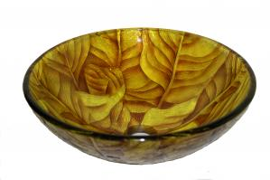 Yellow Leaf Round Vessel Sink