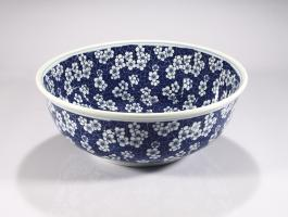 Blue and White Round Vessel Bathroom Sink