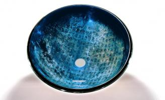 Antique Blue Round Vessel Sink
