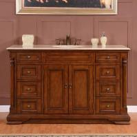 58 Inch Transitional Single Bathroom Vanity with a Cream Marfil Marble Counter Top