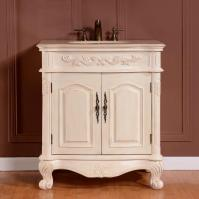 32 Inch Traditional Single Bathroom Vanity with a Cream Marfil Marble Counter Top