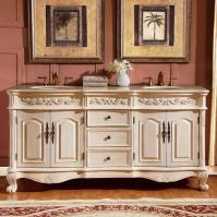 72 Inch Traditional Double Bathroom Vanity with a Cream Marfil Marble Counter Top
